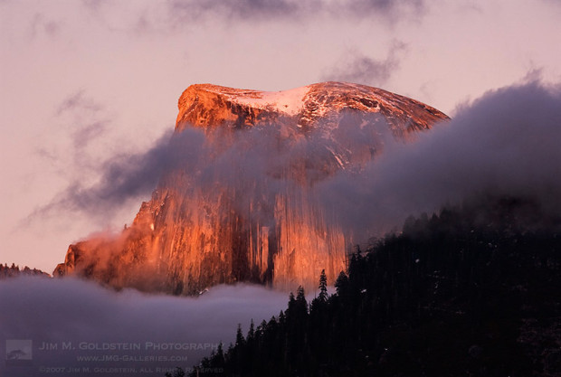 Last light falls on Half Dome as the sun sets.